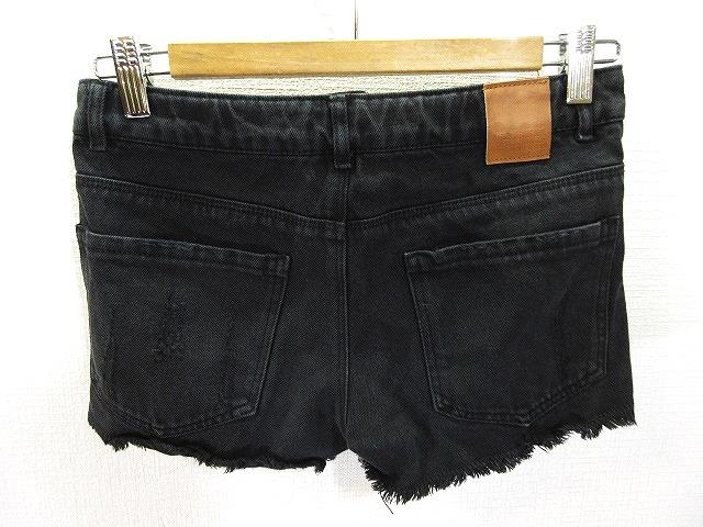 ザラ ZARA Girls カラー デニム ショート パンツ ダメージ加工 カットオフ 黒 ブラック 11/12 152cm VV