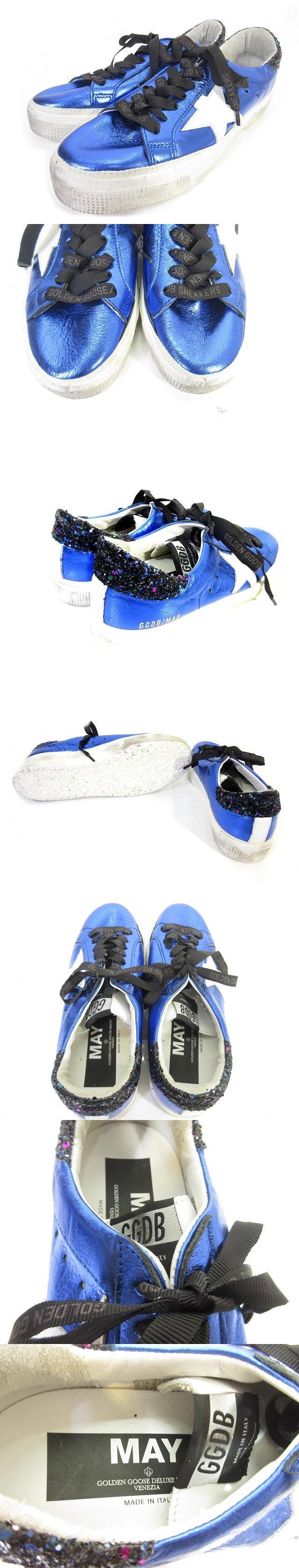 スニーカー ローカット スパンコール レザー 青 ブルー 37