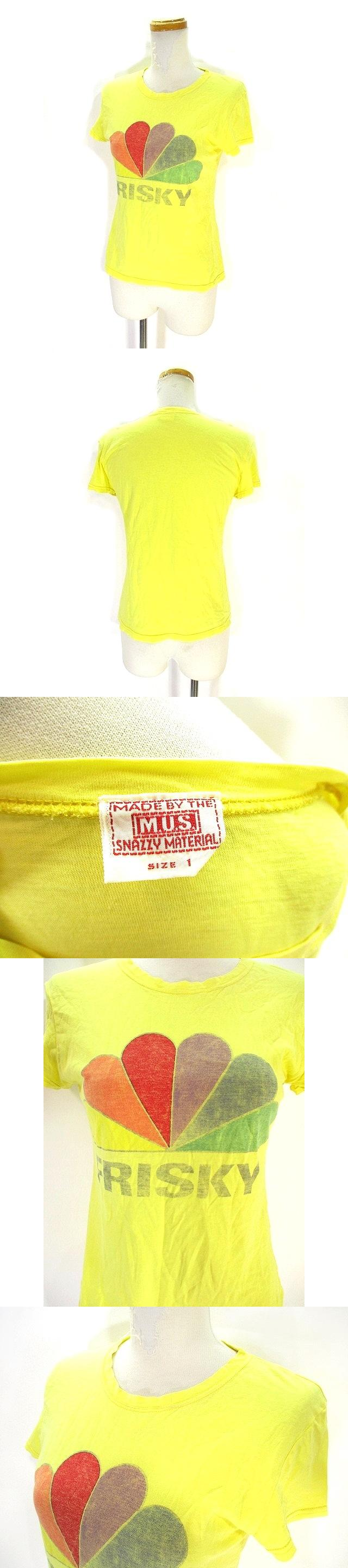 M.U.S. SNAZZY MATERIAL コットン Tシャツ カットソー 半袖 フレンチスリーブ クルーネック プリント 総柄 1 イエロー 黄