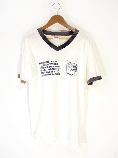 ヘルスニット healthknit コットン Tシャツ カットソー 半袖 Vネック プリント S ホワイト 白 メンズ