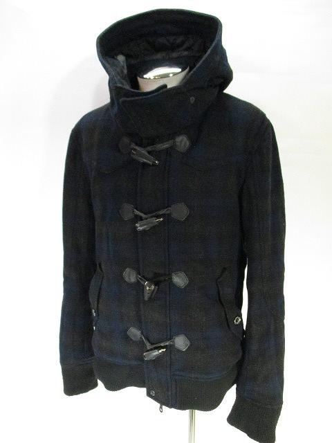 ニコルクラブフォーメン NICOLE CLUB FOR MEN ダッフル コート ジャケット チェック 柄 紺 ネイビー  メンズ