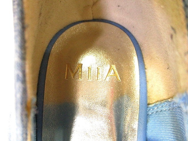ミーア MIIA ハイヒール パンプス ストラップ デニム ハート ワンポイト 3 ライトブルー 水色 レディース