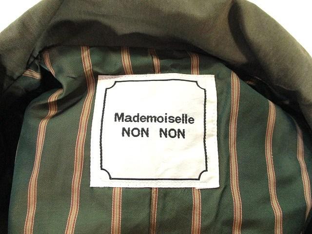 マドモアゼルノンノン mademoiselle NON NON 美品 スプリング ロング コート ショップコート ベルテッド ジャケット 無地 カーキ グリーン 緑 レディース