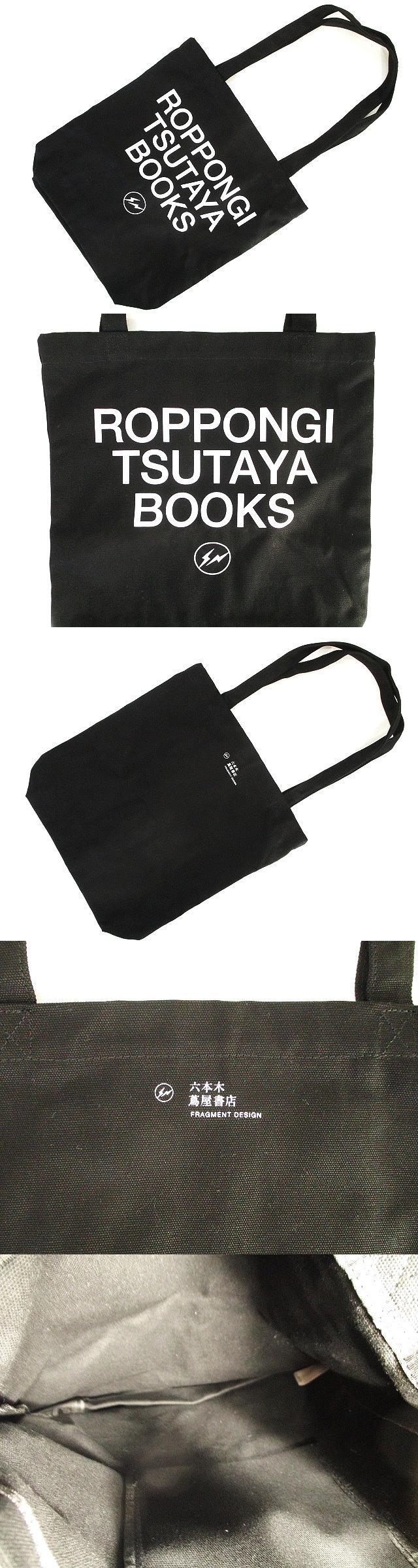 × 六本木 蔦屋書店 極美品 トート バッグ キャンバス プリント ロゴ 黒 ブラック