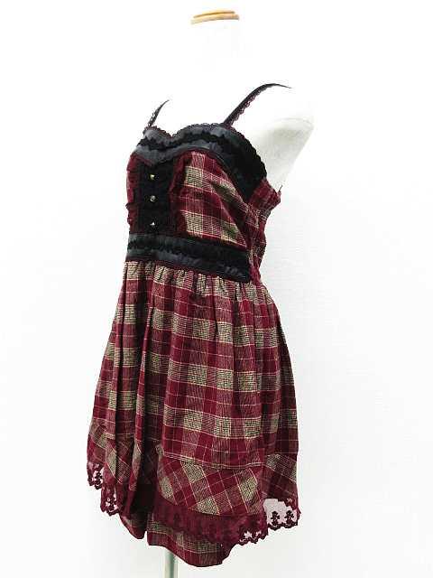 e39f5864bbe55 アクシーズファム axes femme ワンピース ドレス ミニ チェック レース 刺繍 フリル 金ボタン フェイクレザー ノースリーブ ...