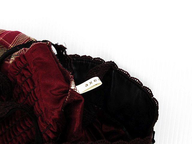 4bb2588f67438 ... アクシーズファム axes femme ワンピース ドレス ミニ チェック レース 刺繍 フリル 金ボタン フェイクレザー ノースリーブ