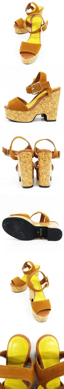 サンダル ミュール 靴 アンクルストラップ 厚底 太ヒール コルク風 茶系 S