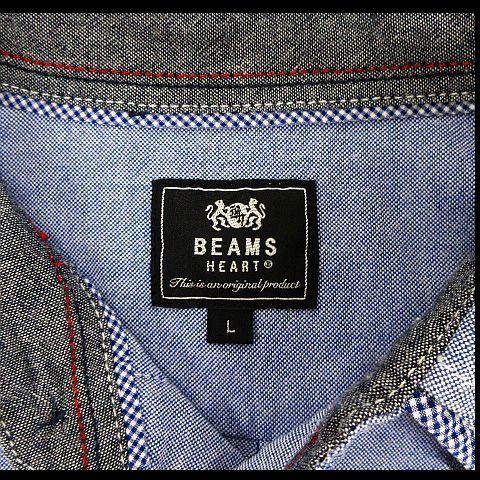 ビームスハート BEAMS HEART カジュアルシャツ シャンブレー トップス 長袖 無地 コットン混 水色 L メンズ