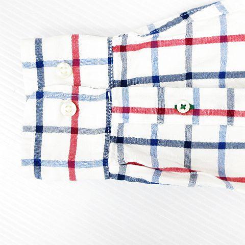 トミーヒルフィガー TOMMY HILFIGER カジュアルシャツ トップス 長袖 ボタンダウン チェック柄 ロゴ 刺繍 コットン オフホワイト M メンズ