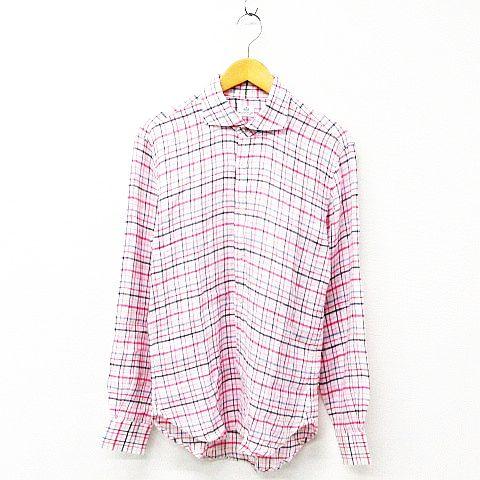 ビームスハート BEAMS HEART カジュアルシャツ トップス 長袖 チェック柄 リネン ピンク マルチカラー メンズ