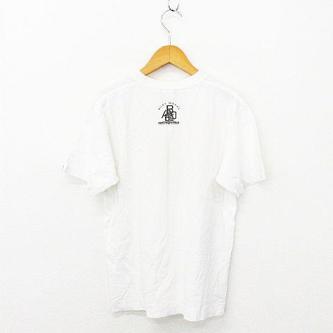 アベイシングエイプ A BATHING APE Tシャツ トップス 半袖 クルーネック ロゴ 英字 イラスト プリント コットン オフホワイト S メンズ