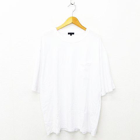 アーバンリサーチ URBAN RESEARCH Tシャツ トップス 半袖 クルーネック 胸ポケット 無地 コットン ホワイト 40 メンズ