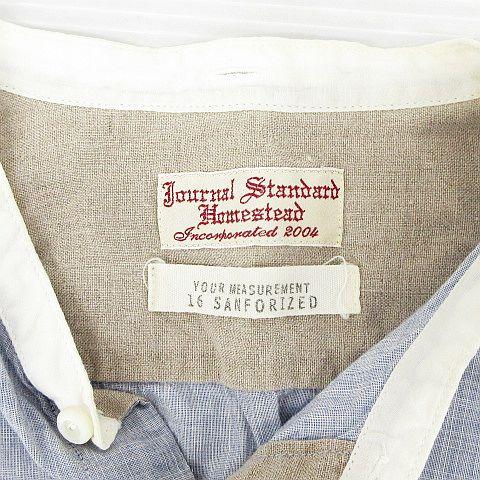 ジャーナルスタンダードホームステッド JOURNAL STANDARD J.S HOMESTEAD カジュアルシャツ トップス 七分袖 ローカラー ダンガリー チェック シルク コットン混 ブルー オフホワイト L メンズ