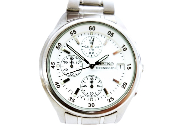 hot sale online 3e4cb 9d68b セイコー SEIKO CHRONOGRAPH クロノグラフ V657-9010 クォーツ 腕時計 白 シルバー メンズ