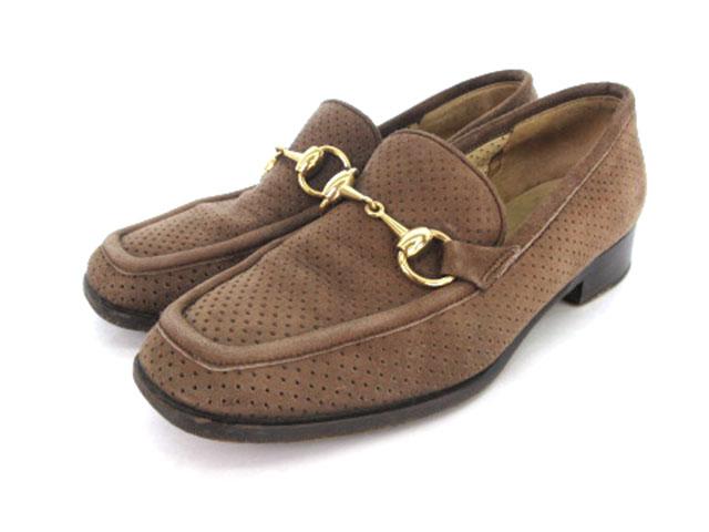sports shoes 3769f 0966f グッチ GUCCI ローファー スエード ホースビット パンチング 茶 ブラウン aky レディース