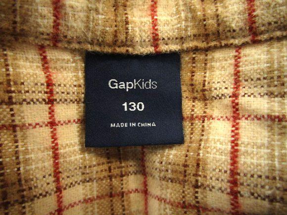 ギャップキッズ GAP KIDS バンドカラー ネルシャツ 長袖 ベージュ 赤 130 フリル チェック