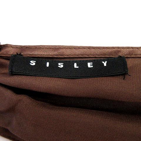 シスレー SISLEY パーティードレス ワンピース ホルターネック ひざ丈 シルク ブラウン 茶 40 レディース