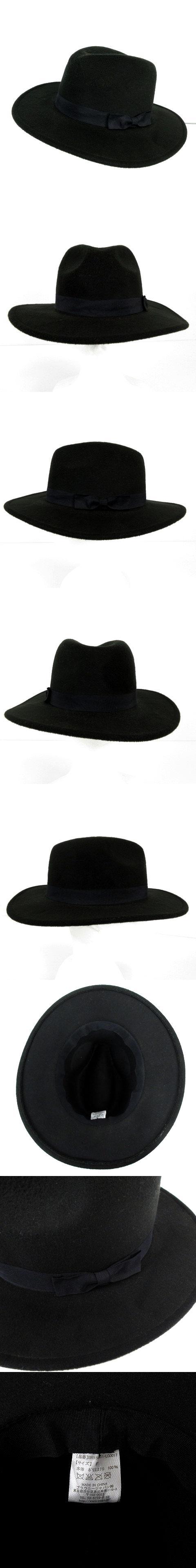 ナフィデルカ Nafi De Luca 帽子 中折れハット リボン ブラック  黒 ネイビー 紺 F