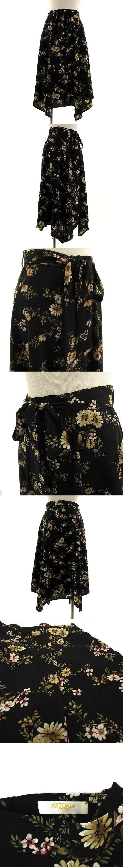 アストリアオディール ASTORIA ODIER スカート ミモレ丈 総裏地 花柄 黒 ブラック S