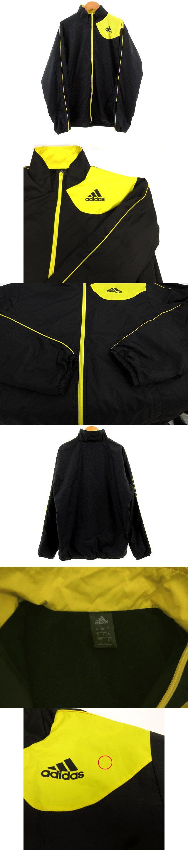 ジャケット ウインドブレーカー ナイロン 裏起毛 ジップアップ 黒 ブラック 黄色 イエロー M