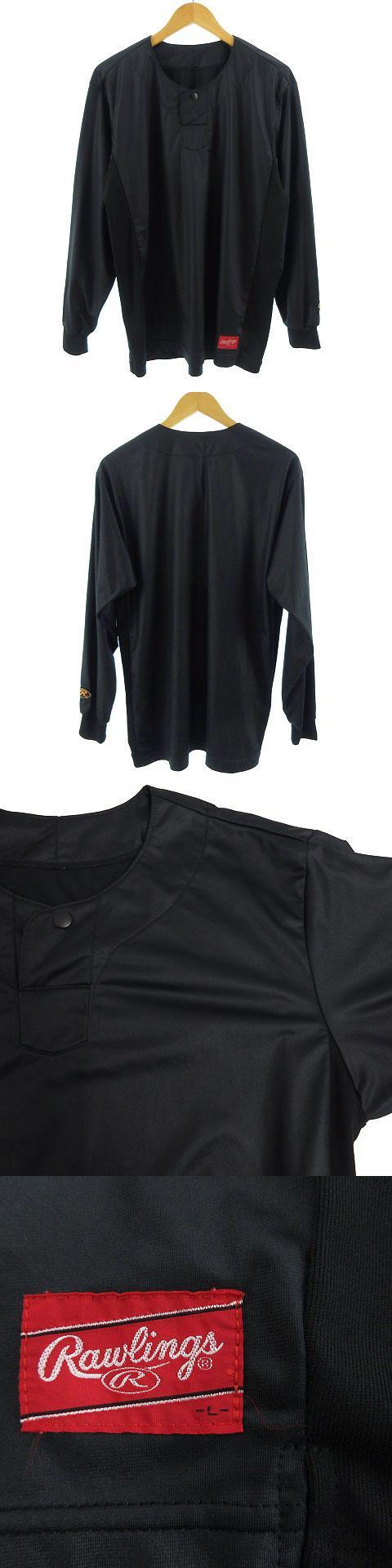 Rawlings ベースボール シャツ アンダーシャツ 長袖 野球 ブラック 黒 L