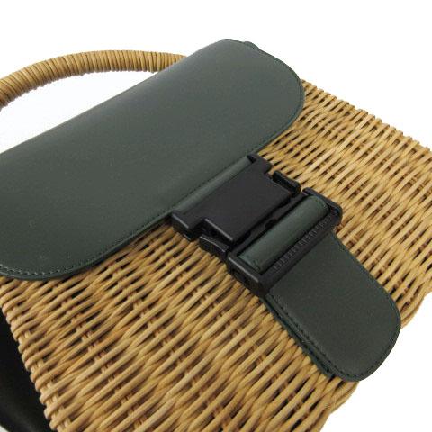 未使用品 ズッカ zucca バックルバッグ バスケット かごバッグ ハンドバッグ グリーン 緑 ブラウン 茶 F レディース
