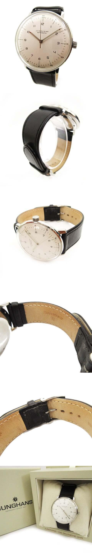 ユンハンス JUNGHANS 腕時計 27.3500 マックスビル 自動巻き オートマチック ホワイト ブラック メンズ/□1