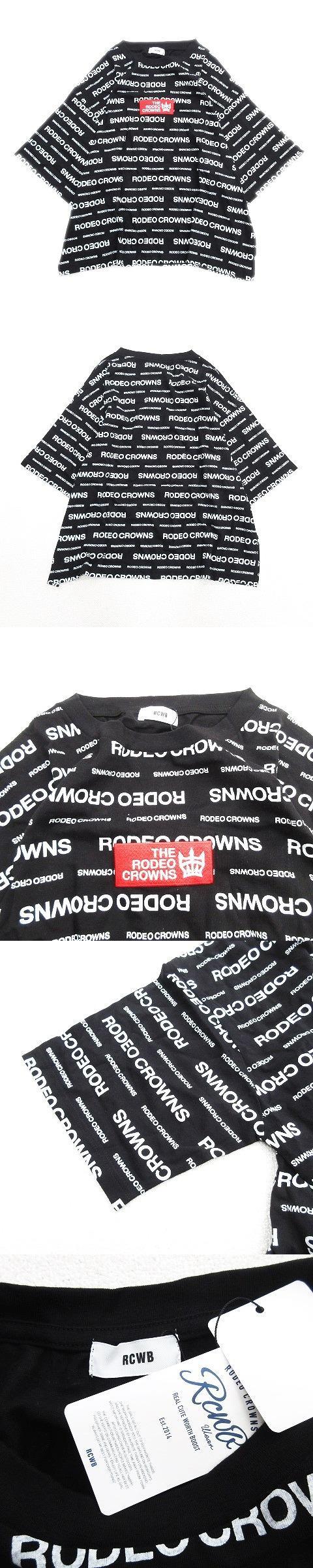 ロゴ 総柄 半袖 Tシャツ カットソー 丸首 プリント F 黒 ブラック レディース/r7