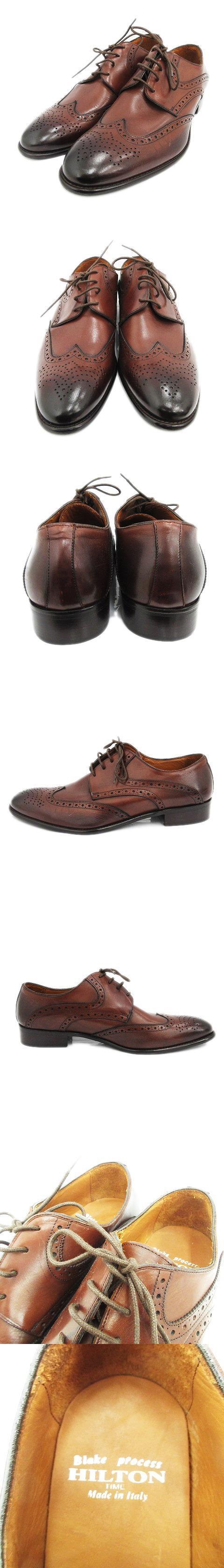 美品 ビジネス シューズ 革靴 レザー ウィングチップ ドレス レースアップ 44 ダークブラウン メンズ/r5