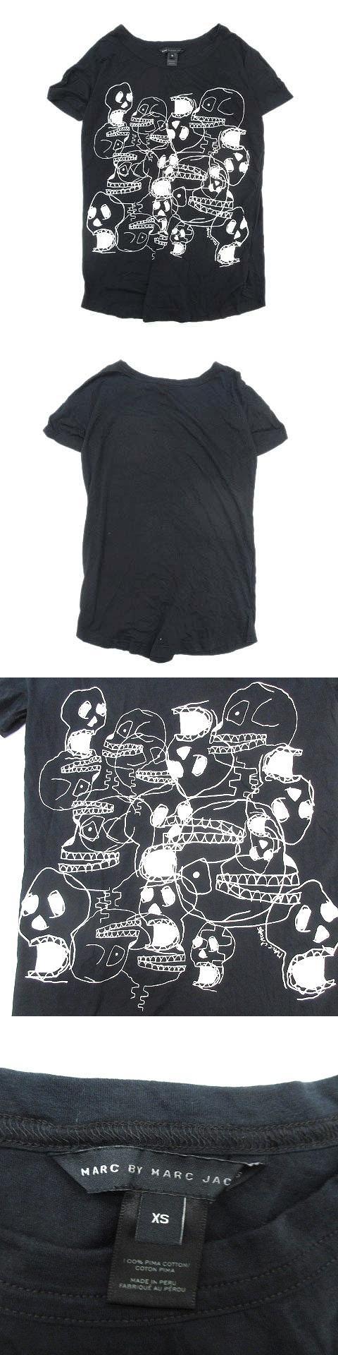 スカル プリント Tシャツ カットソー XS ブラック メンズ/25●8