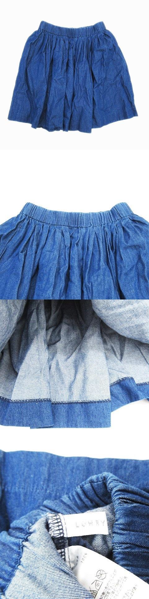 ギャザー ハーフ スカート ウエストゴム ひざ丈 F 青 ブルー レディース/r49