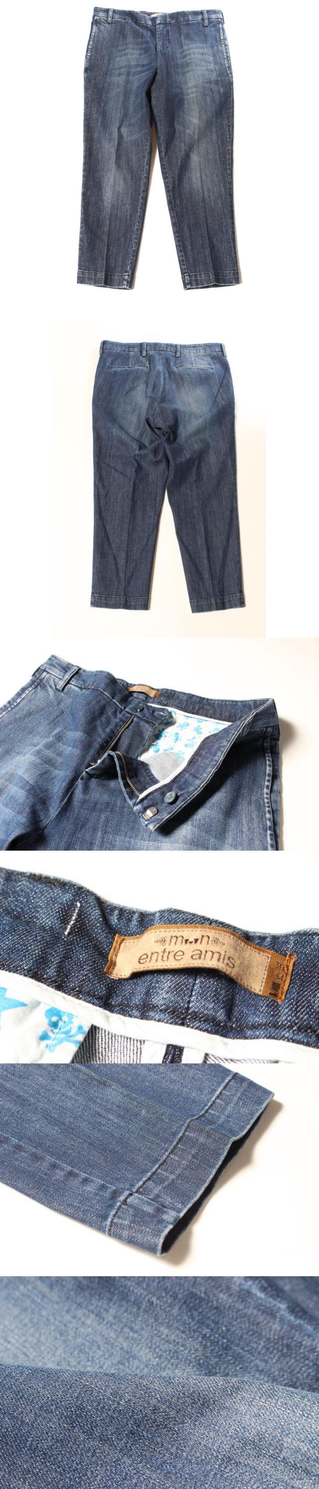 アントレアミ ENTRE AMIS センタープレス デニム パンツ ジーンズ 34 青 ブルー /ka0410