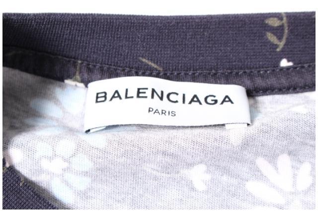 バレンシアガ BALENCIAGA カットソー 半袖 クルーネック オーバーサイズ フローラル 花柄 XS /ry0412 レディース