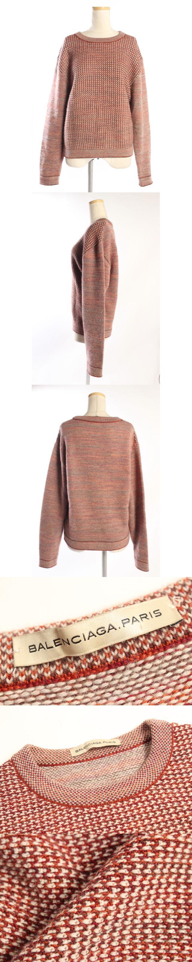 セーター ニット ミックス 長袖 ツイード ウール アルパカ シルク カシミヤ 36 茶 ブラウン /kk0417