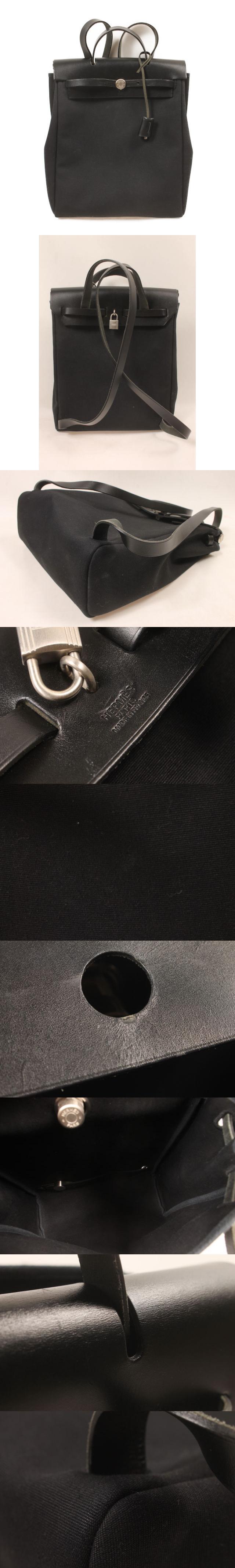 エールバッグ アドPM リュック バックパック トワル レザー □C刻印 黒 ブラック /yt0420