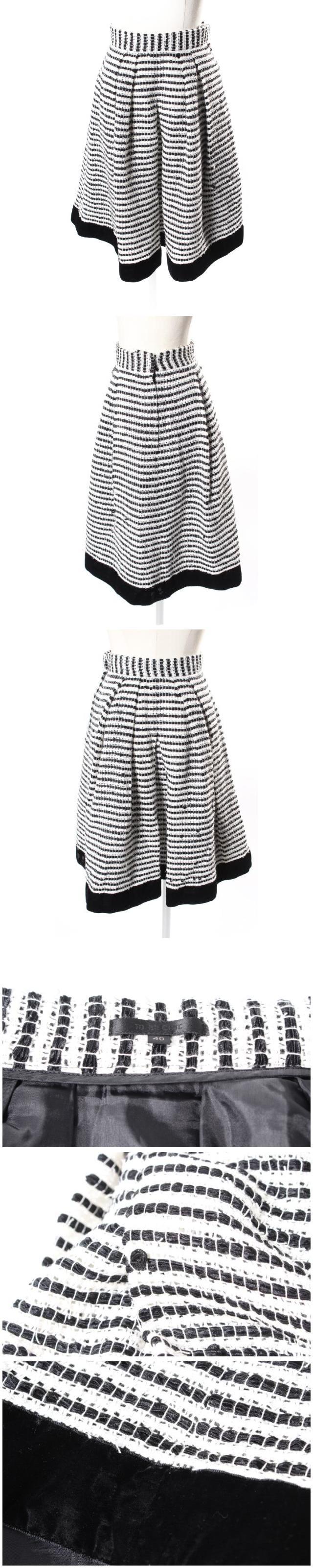 スカート フレア ひざ丈 タック カールヤーン 40 黒 ブラック 白 ホワイト /au0517