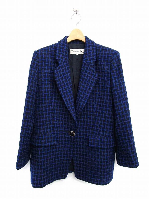 newest bb799 66c17 クリスチャンディオール Christian Dior ジャケット テーラード 総柄 総裏地 L 黒 青 /ES レディース
