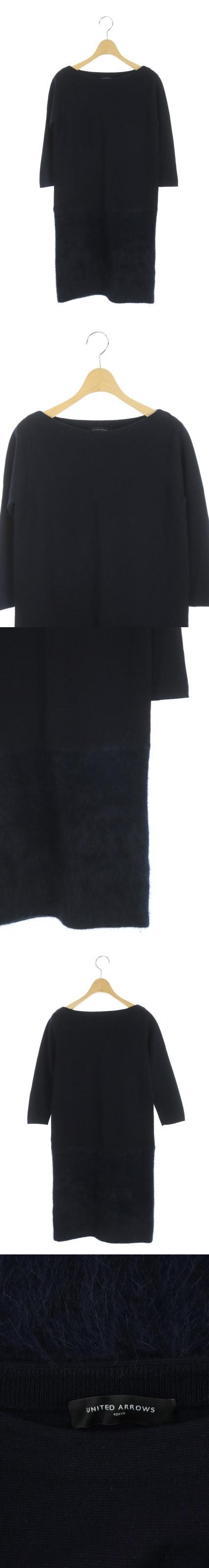 ニット ワンピース 膝丈 切替 アンゴラ混 七分袖 紺 /DF