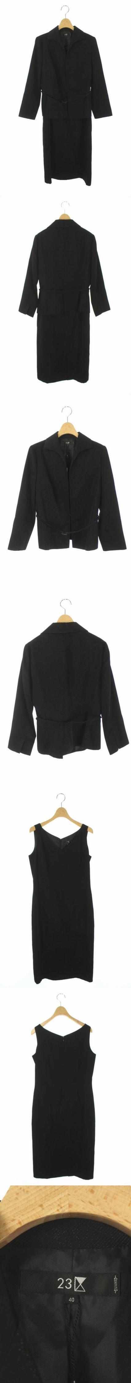 スーツ 2点セット ジャケット ワンピース ひざ丈 ノースリーブ 40 黒 /AO