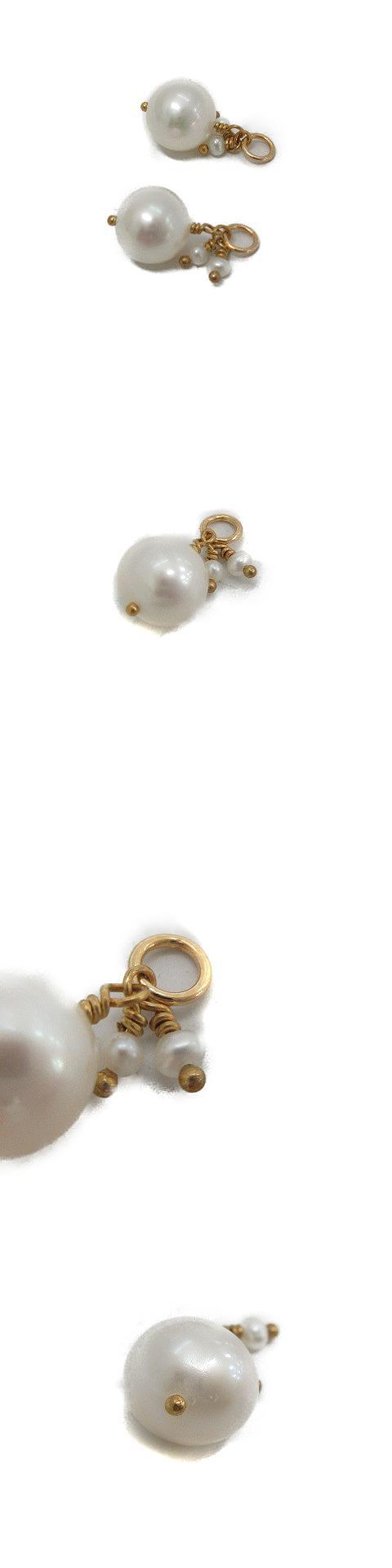 ピアスチャーム K10 GF パール ゴールド色 白 /OG26