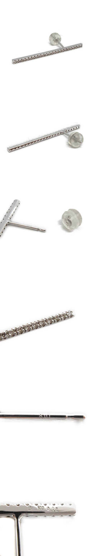 ヒロタカ ロングバーピアス 片耳 K10 ダイヤモンド 0.12ct シルバー色 ホワイトゴールド色 /OG43