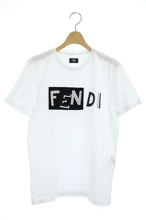 superior quality 02f28 afcb6 フェンディ FENDI Tシャツ カットソー ロゴ 刺繍 半袖 46 白 /HA ■OS メンズ