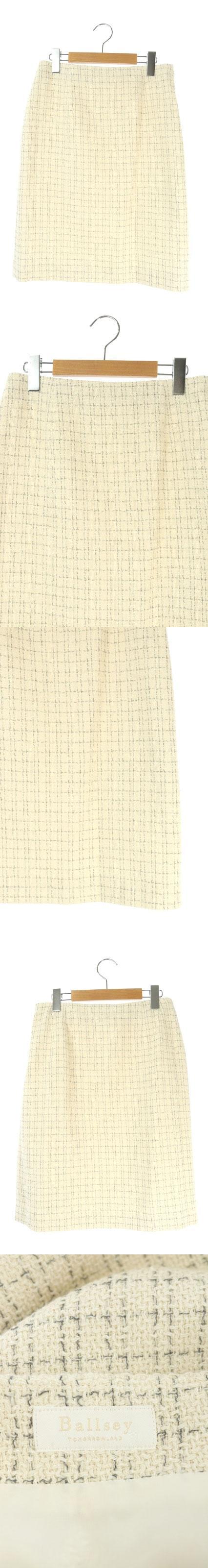 17SS スカート 膝丈 タイト チェック ツイード 36 オフホワイト グレー /ES ■OS