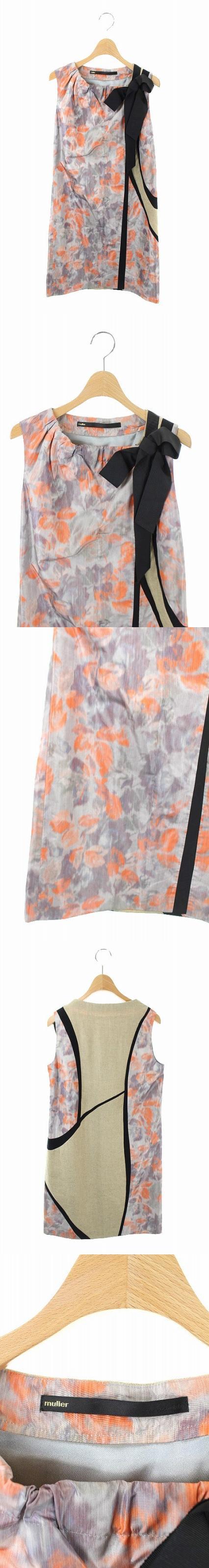 ワンピース リボン装飾 シルク混 ひざ丈 ノースリーブ 36 グレー オレンジ ベージュ /KN ■OS