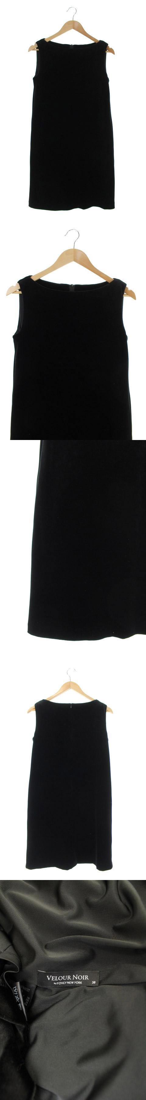 ベロアノワール VELOUR NOIR MIRIAM ワンピース ひざ丈 ベロア ノースリーブ 38 黒 39127 /RM ■OS