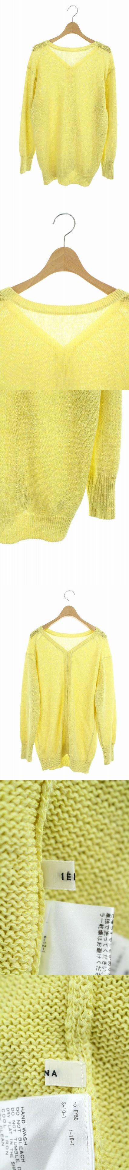 19SS ニット カットソー リネン混 テープヤーン バックデザイン 長袖 黄色 /AO ■OS