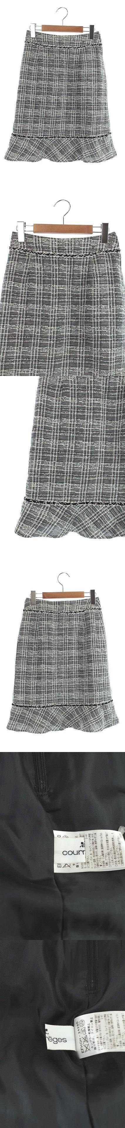 スカート タイト フリル ツイード ひざ丈 36 白 黒 /KN ■OS