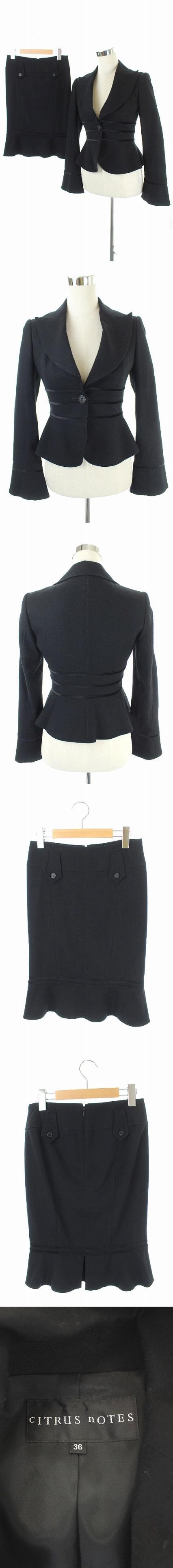 スーツ セットアップ 上下 ジャケット テーラード 総裏地 スカート マーメイド 膝丈 36 34 黒 /AA ■OS