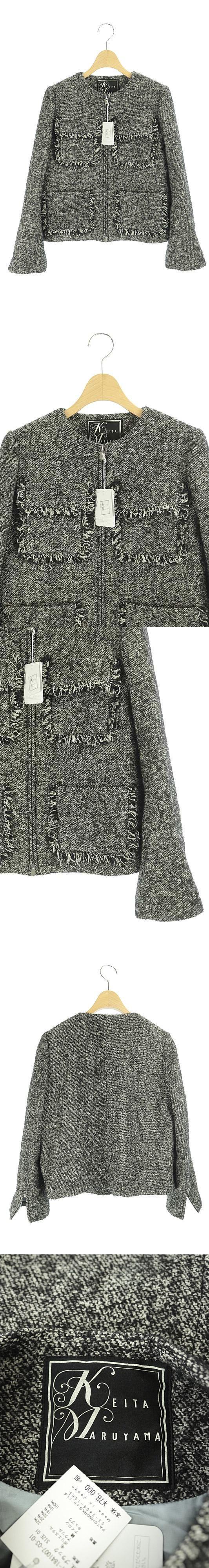 ジャケット ノーカラー ジップアップ ツイード フリンジ 01 黒 白 /YW ■OS