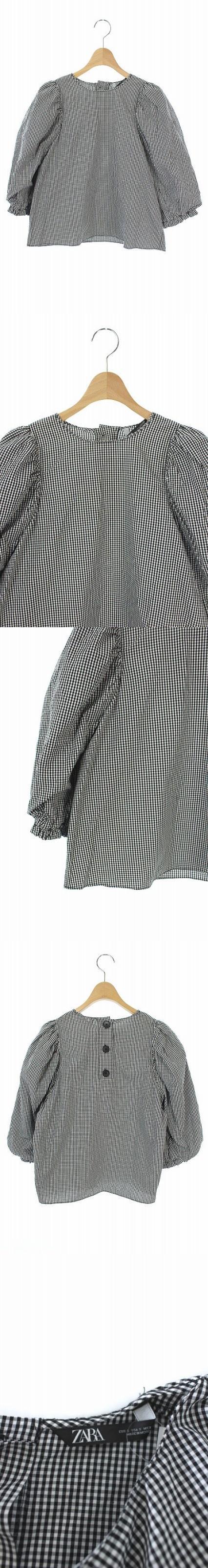 ブラウス ギンガムチェック 七分袖 S 黒 白 /KN ■OS